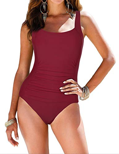 Firpearl Women's Retro Halter One Piece Bathing Suit Ruched Tummy Control Swimsuit Red US18
