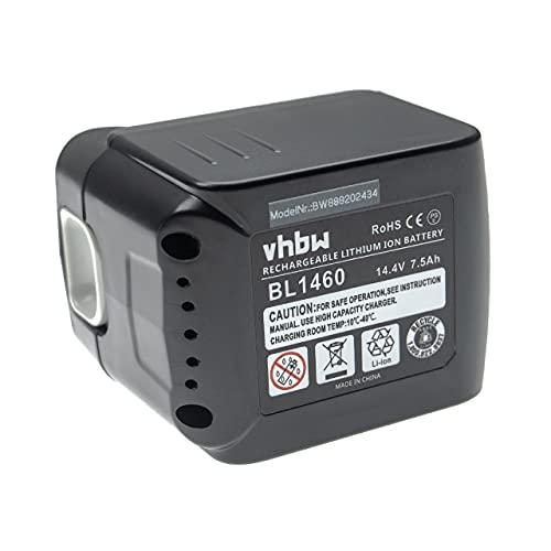 vhbw Batería recargable compatible con Makita DTS131, DTS131Z, DTW280, DTW280Z, DTW284, DTW284Z herramientas eléctricas (7500 mAh Li-Ion 14,4 V)