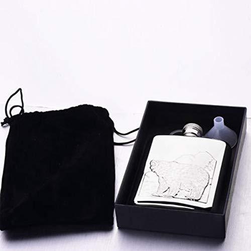 Chujian Flask + Imbuto, Flacone per Esterni con Orso Polare, Acciaio Inossidabile per Uso Alimentare, 100{f8d7b62304c3a37ba2521622684d325a7073c0baabdcc4e0da1cbcf8c9b3780f} a Prova di perdite, Regalo per Uomo (6Oz) (Color : Silver)