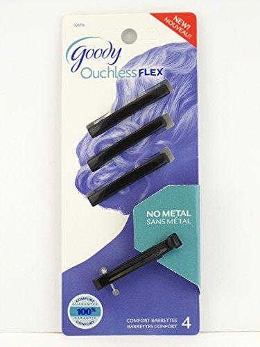 Goody Ouchless Flex Comfort Hair Barrettes - Black - 4 Pcs.