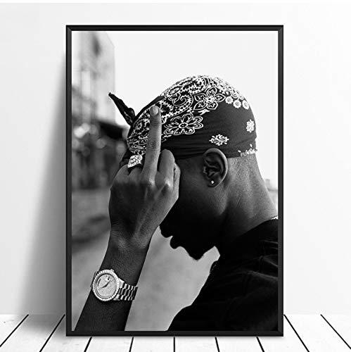 MXIBUN Cartel e Impresiones Tupac Cantante Hip Hop Rap Music Star Cuadro de Arte de Pared Lienzo Pintura Regalo sin Marco 40 * 60 cm