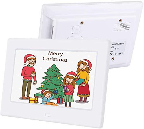 Digitaler Fotorahmen, 7-Zoll-Bilderrahmen, tragbarer Werbespieler, elektronisches Album, USB 16: 9 HD IPS-Anzeige, mit Fernbedienung, unterstützender Videoplayer/Kalender/Uhr(EU-Stecker weiß)