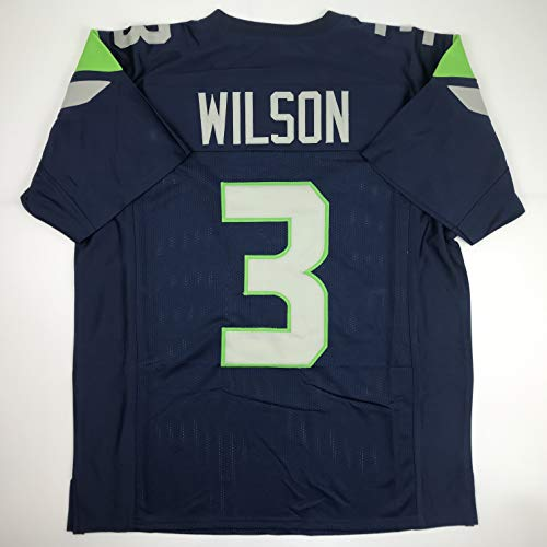 Unsigned Russell Wilson Seattle Blue Custom Stitched Football Jersey Size Men's XL New No Brands/Logos