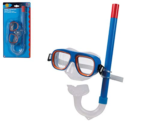 Smart-Planet® Kinder-Taucher-Set - blau-orange - Schnorchel - Tauchmaske - Taucherbrille - Schwimmbrille