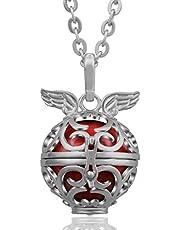 EUDORA Harmony Ball Collar con colgante de ala de ángel de 114 cm de largo para maternidad, joyería de los mejores deseos, 36 colores para elegir