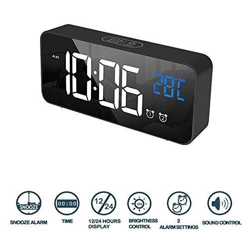 Winnes Digitale wekker, Wekker op snooze zetten Elektronische klok Led scherm USB Opladen Spiegelontwerp Spraakbesturing (Zwart)
