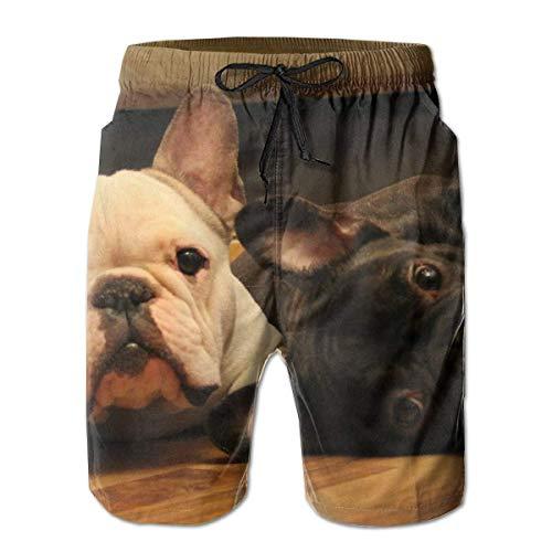 LarissaHi Süße französische Bulldogge Grafikdruck Männer Casual Shorts Badehose Beachwear Badeanzüge Golf Shorts M