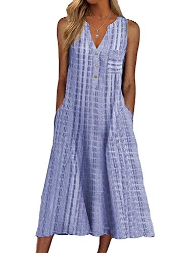 ORANDESIGNE Vestido Casual de Mujer Vestidos sin Mangas Vestidos a Media Pierna Vestido de Cuello en V Bolsillos Vestidos Rayas Midi Vestido de Chaleco Verano Playa C Azul 3XL