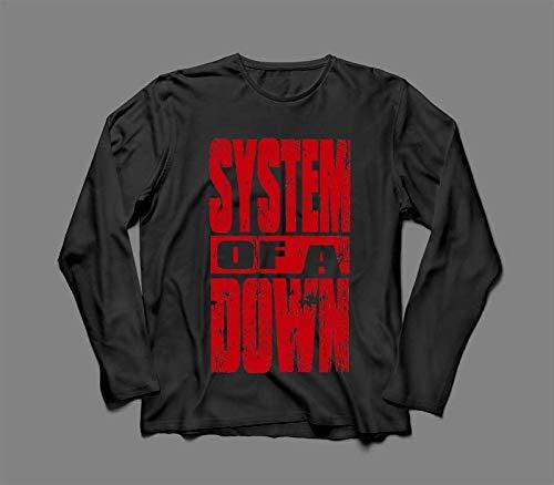 Camiseta/Camisa Manga Longa Masculina System Of A Down Tamanho:G;Cor:Preto