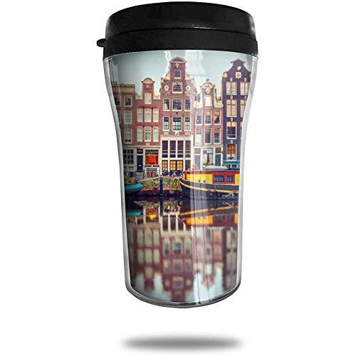 Amsterdam Canal Night City Travel Koffie Mok Gedrukt Draagbare Vacuüm Beker, Geïsoleerde Thee Cup Waterfles Tumblers voor Drinken