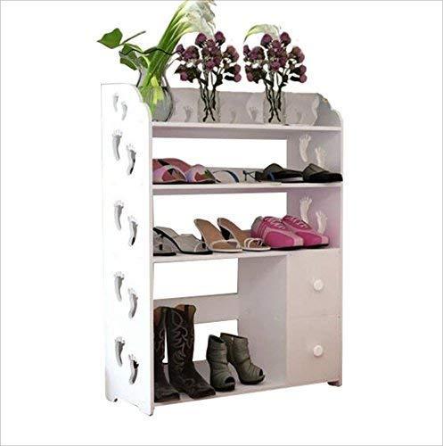 YLCJ Mode-ideeën, schoenenopslag, panelen van hout, gesneden in schoenendozen, gecombineerd, stofbescherming, multifunctioneel, wit, ruimtebesparend, eenvoudige montage