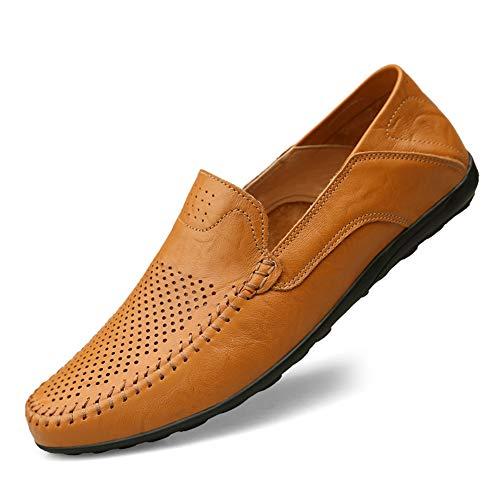NIIVAL Herren Mokassins Klassischer Halbschuh Echtleder Loafers Herren Slipper Komfort Fahren Halbschuhe (41 EU, Hellbraun-Loch)