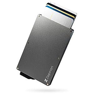 [zepirion] クレジットカードケース スキミング防止 磁気防止 スライド式 スリム マネークリップ付き アルミニウム スペースグレイ