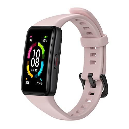 """HONOR Band 6 Pulsera Inteligente de Actividad, Monitor de Actividad, Pantalla Pulsómetro Fitness Tracker, SpO2, 1.47\"""" Pantalla AMOLED a Color Smartwatch para Mujer Hombre, Rosa"""