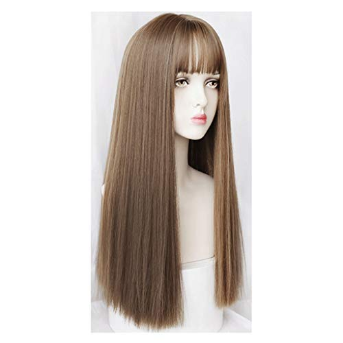 Long Hair Wig Women for Fashion Face Repair Naturally Realistic Air Bangs Easily Change the Shape Full Headgear Wig Set (Color : A)