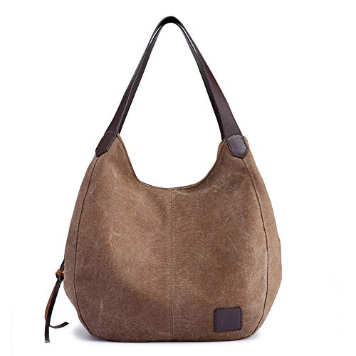 MINGZE Canvas Handtasche, Fashion Damen Schultertasche Multi-Beutel Tasche Henkeltaschen Shopper (Brown)