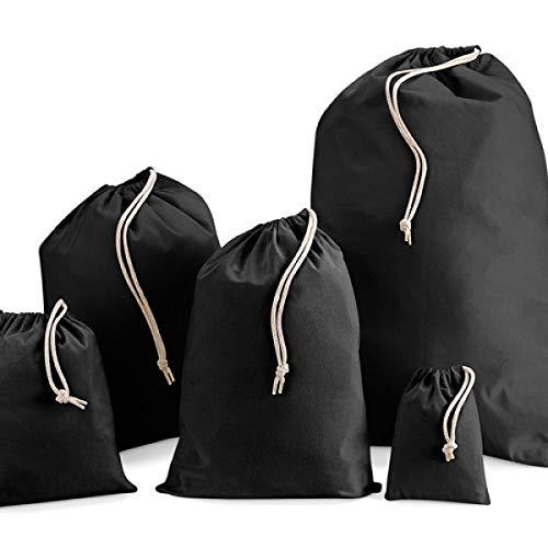 IMFAA Einkaufstasche mit Kordelzug, Schwarz, 100 % Baumwolle, in 6 Größen (5, XXL (70 x 85) cm)