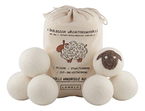 LAHELA Trocknerbälle 6er Pack - natürliche Alternative für Weichspüler. Premium Schafwolle. Pflegend, umweltschonend, zeit- und kostensparend. Wäschetrockner Bälle Trocknerkugeln für Wäschetrockner. Handarbeit aus Nepal.