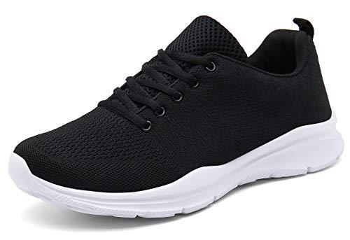 KOUDYEN Laufschuhe Atmungsaktiv Turnschuhe Schnürer Sportschuhe Sneaker für Herren Damen (EU46, Schwarz)
