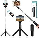 AXVARY - 4 EN 1: Palo Selfie + Trípode + Soporte + Monopié, Universales y Extensibles con Control Remoto Bluetooth (Batería Incluida). Funciona con Todo Tipo de Teléfonos Inteligentes.