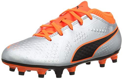 Puma One 4 SYN FG Junior Fußballschuhe, Silber Silver-Shocking Orange Black 01, 37 EU