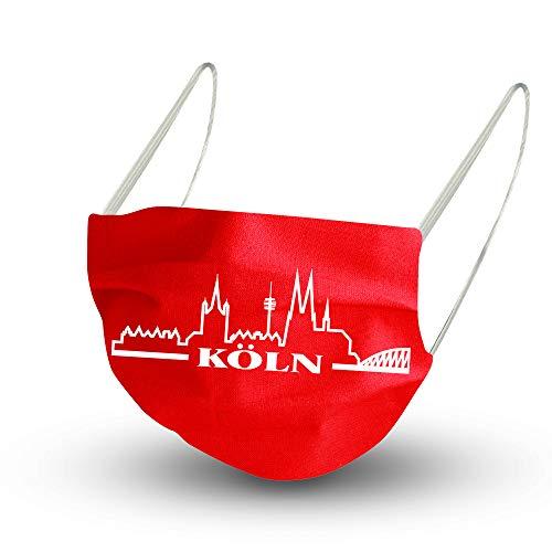 Fan-Omenal Textil Design Maske in Rot aus Baumwolle mit zertifiziertem Innenvlies - Skyline Köln Cologne 15617