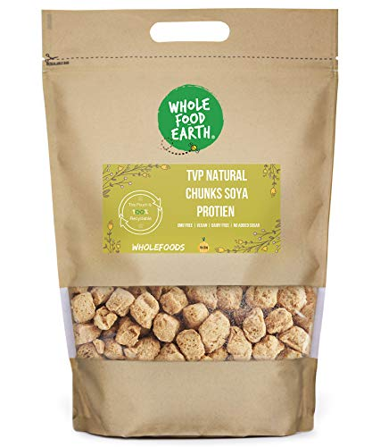 Wholefood Earth TVP Natural Chunks SOYA Protien - GMO Free - Vegan - Dairy Free - No Added Sugar, 2 kg