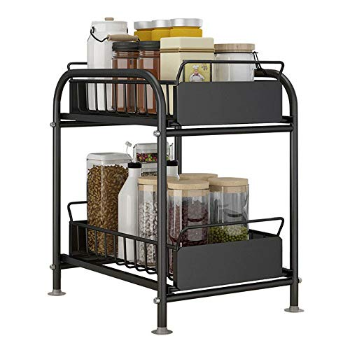 CUIJU Organizador de gabinete de Cocina apilable de 2 Niveles con cajón de Almacenamiento Deslizante Debajo del Fregadero Organizador de cajones para Especias (Negro, 22 cm)