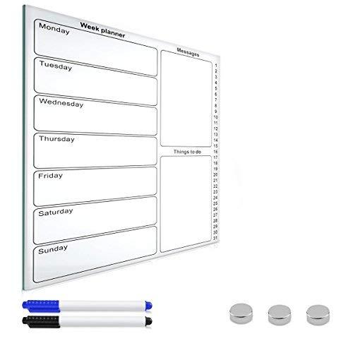 Navaris Magnettafel Wochenplaner Whiteboard aus Glas - Tafel 50x40 cm magnetisch zum Beschriften - Magnetwand Kalender inkl. Magnete Stifte Halterung