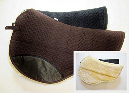 PS Pferdeartikel Westernpad, Sattelunterlage mit Lammfell -Spezial- Round Abgestuft Farbe schwarz
