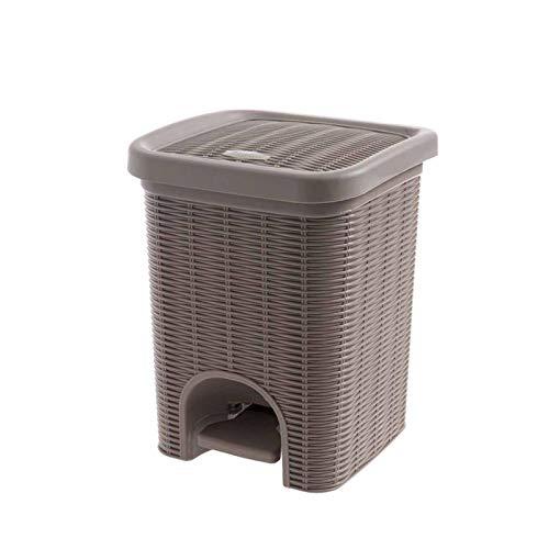 ZRYYD PP Trash Can Pressen Typ Papierkorb Kunststoff-Mülltonne Mülleimer Küche Badezimmer Wohnzimmer Müllbehälter Lagerung Can (Color : Brown)