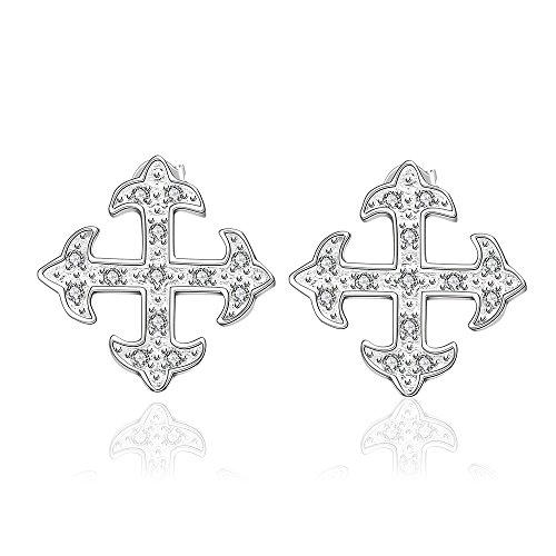 Styleziel 1715 Oorstekers voor dames, kleine kruiden met kristallen zilver, 10 mm