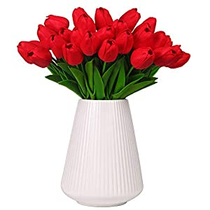 Silk Flower Arrangements Momkids 20 Pcs Tulips Artificial Flowers Fake Faux PU Tulip Latex Bouquet Real Touch Flower for Hotel Stage Home Living Room Dining Table Garden Wedding Decor(Red 12.5 Inch)
