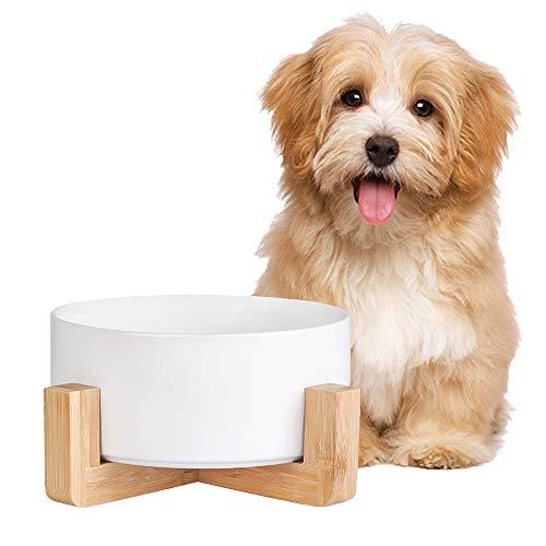Comedero Perro y Comedero Gato con Soporte Antivuelco de Madera para Comida y Agua - Comederos y Bebederos para Perros Gatos de Ceramica 850 ml
