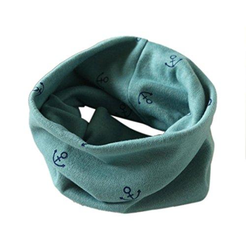 Longra Écharpe Automne Hiver bébé Garçons Filles Collier Coton O Anneau Écharpe Neck 40 * 37cm pour 2 à 10 Ans (Vert)