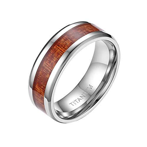 Mabohity Ring Heren 8MM Titan-Ring mit Holz Echtholz Titanium Ehering Verlobungsring Freundschaftsring Hochzeitsband Bandring, Silber, Größe 52