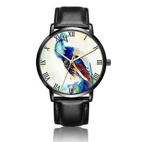 Relojes Anolog Negocio Cuarzo Cuero de PU Amable Relojes de Pulsera Wrist Watches Pavo Real de Color