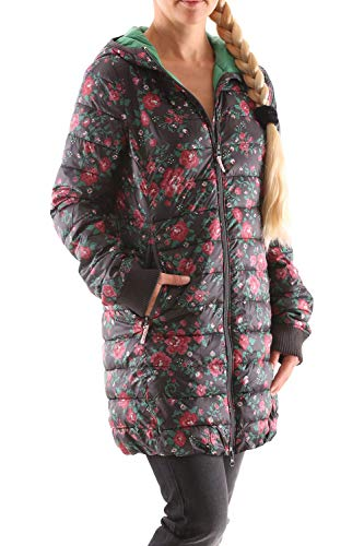 Blutsgeschwister Leichte Laune Long Jacket Damen Daunen Jacke Mantel, Größe:L, Farbe:Schwarz (Female folkcraft)
