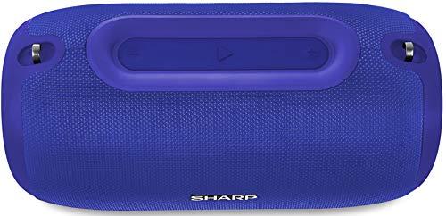 Sharp GX-BT480 (BL) Stereo-Bluetooth-Lautsprecher (100 dB + SPL-Ausgang, 20 Stunden Spielzeit, 3 EQ, Micro-SD, Staub-Spritzwasser geschützt, Mikrofon für Telefon, Google & Siri) blau