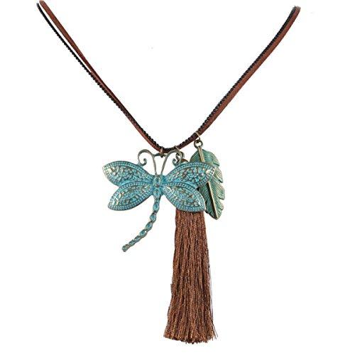 National Style Retro Schmetterling Blätter Lange Sektion Quaste Anhänger Pullover Kette Halskette,Green-75cm