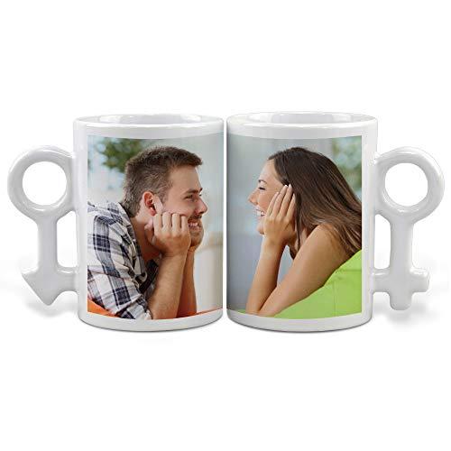 LolaPix Tazas Pareja Personalizada con tu Foto, diseño o Texto, Original y Exclusivo. Regalo para Enamorados. Tazas con Amor.