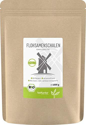 BIO Flohsamenschalen 99% Reinheit gemahlen / MEHL - 100% Bio - indische Flohsamen Schalen - bioKontor 1kg / 1000g