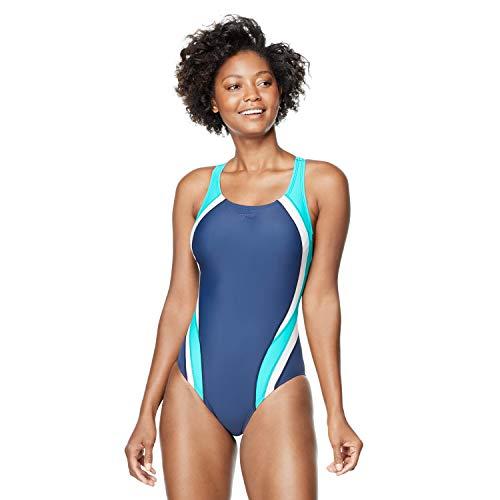 Speedo Women's Standard Swimsuit One Piece Creora Highclo Quantum Splice High Cut Solid, Fusion Peacoat, 8