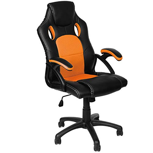 Panorama24 Gamer Stuhl Gaming Schreibtischstuhl Chefsessel Bürostuhl Ergonomisch, Orange, 9 Farbvarianten, gepolsterte Armlehnen, Wippmechanik, belastbar bis 150 kg, Lift TÜV geprüft