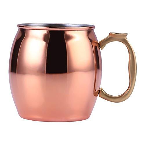 High Quality Cups Roestvrij Staal 304 Koper Platen Moskou Mule Mok Van Het Bier De Kop Van De Kop Van Moskou Donkey Mule Cup Cocktail Glas (Color : Rose Gold)