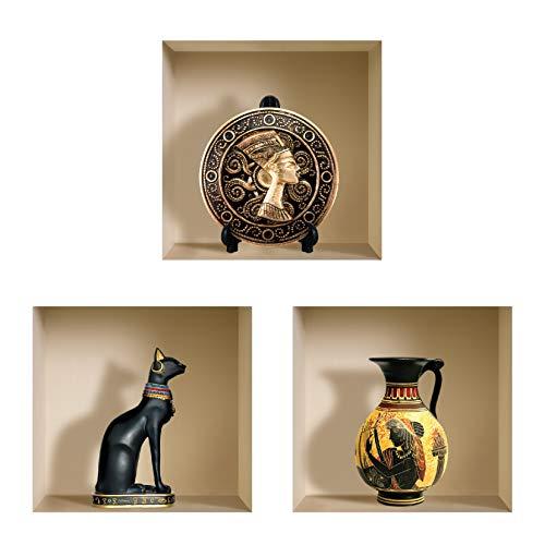 Die entfernbaren Nisha Art Magic 3D-Vinyl-Wandabziehbilder zum Selbermachen, 3er-Set, Schwarz Ägyptisch