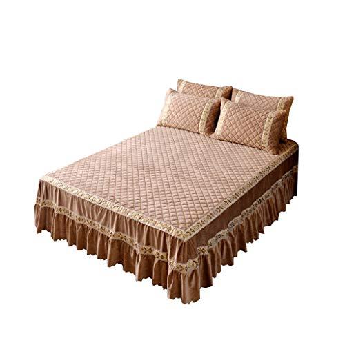 XXT Modestars Bett Rock, bettdecke, Bett Rock bettdecke staubschutz, Haus gefaltete dreidimensionale Bett Rock Textil (Color : Brown, Size : 1.8m*2.0m)