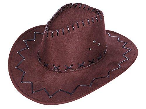 Chapeau de cowboy Wild West Western country mexicain taille unique pour enfant / ados Marron (kinder 05a) en feutre de qualité supérieure lux très classe l'accessoire festif idéal pour les fêtes pour se déguiser ou marquer l'événement déguisement pour fille ou garçon animation spectacle théâtre festival carnaval idée de cadeau de noel ou fête de fin d'année