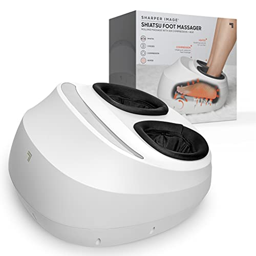 SHARPER IMAGE Shiatsu Foot Massager *New 2021 Version* Rolling Massage with Air Compression, Relax Tired & Sore Toes with Heat Therapy, Adjustable Massage Levels, Fits up to Men's 12/Women's 14