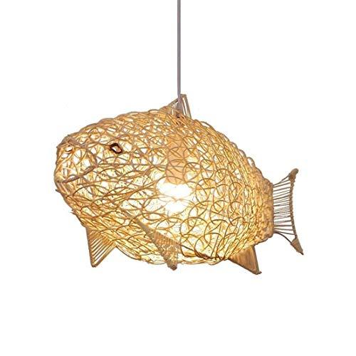 TJLSS Creativo Tejido a Mano de ratán Mimbre pez Pantalla de Techo Restaurante Droplight lámpara Colgante Decorativa nórdico Simple ratán lámpara Colgante luz E27 decoración iluminación